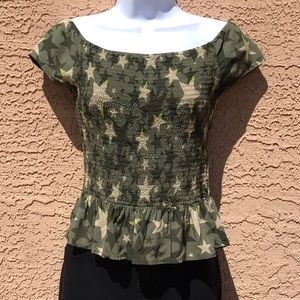 Candie's Green Star Camo Shirt NWOT